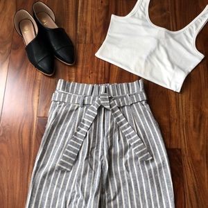 TOPSHOP striped high waisted paper bag pants